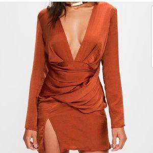 Missguided Silky Orange stylish dress